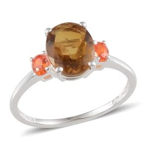 NEW Size 7 Whisky Quartz 925 Sterling Silver Ring